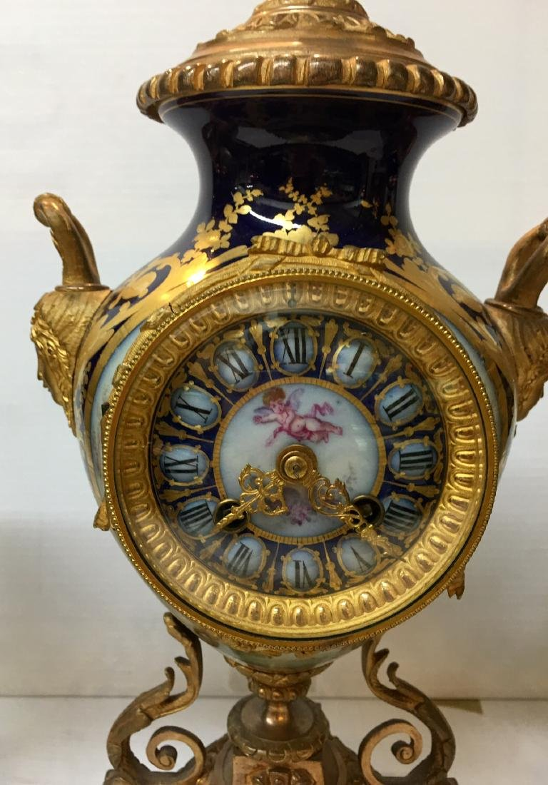 Gilt Mantel Clock with Matching Urns - 2