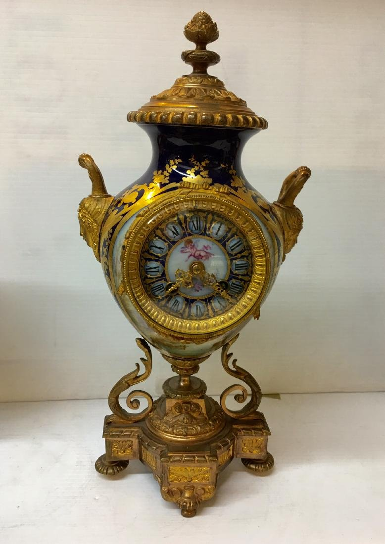 Gilt Mantel Clock with Matching Urns - 4