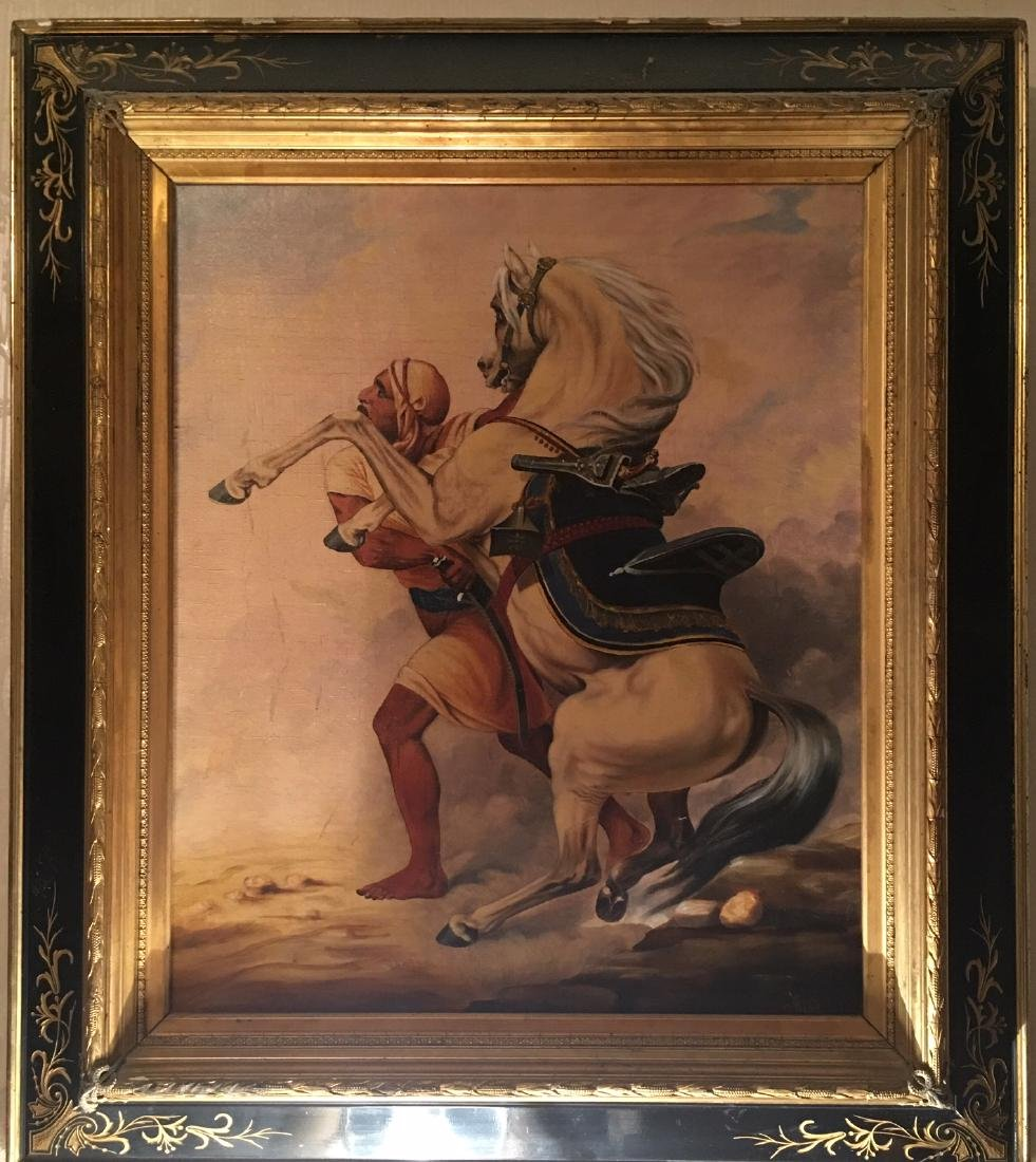 Oil Painting of Man and Horse in Sand Storm Signed
