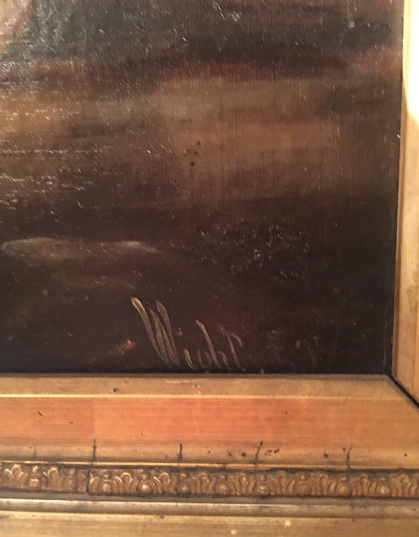 Oil Painting of Man and Horse in Sand Storm Signed - 3