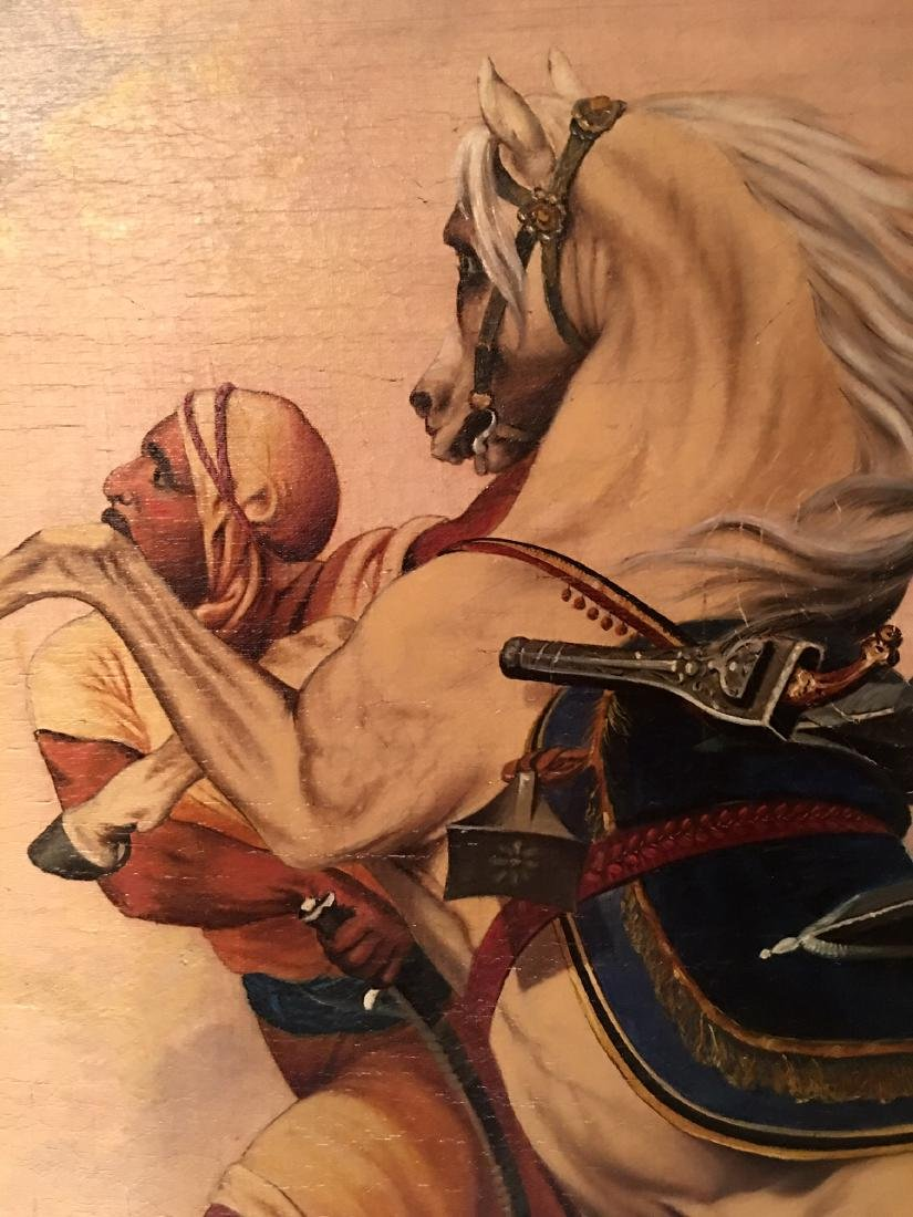Oil Painting of Man and Horse in Sand Storm Signed - 4