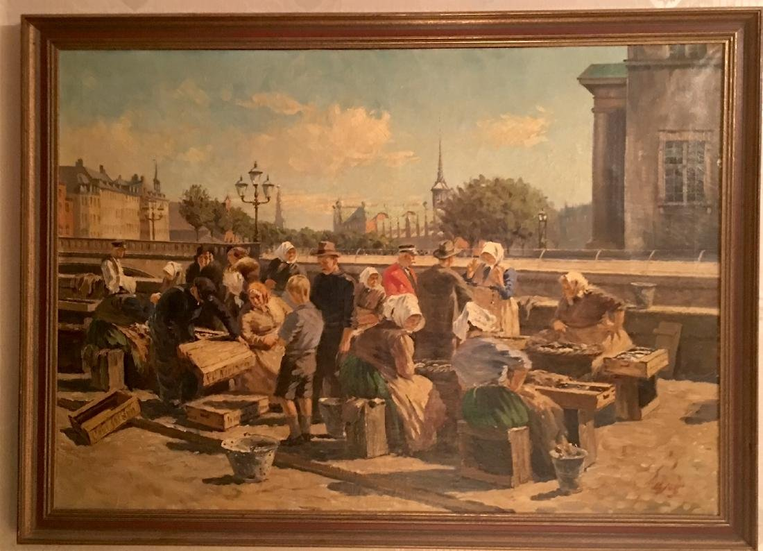 Oil Painting of Outdoor Market Place