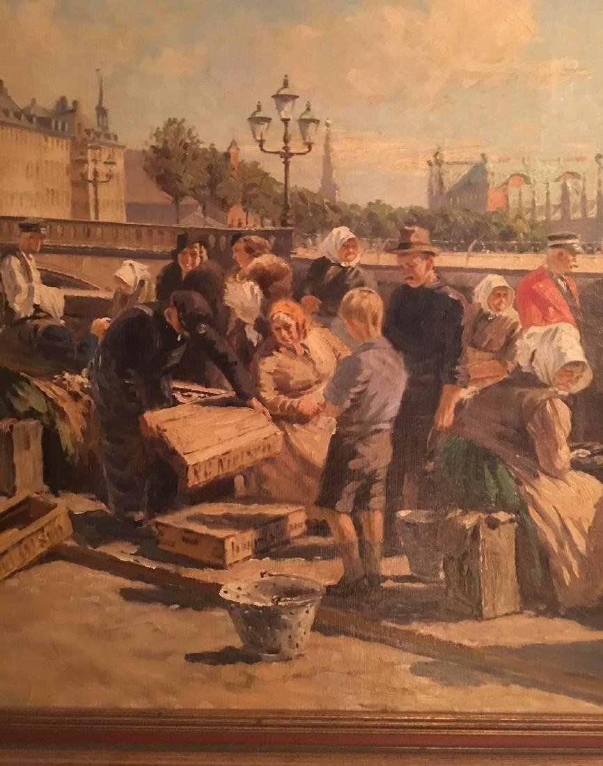Oil Painting of Outdoor Market Place - 2