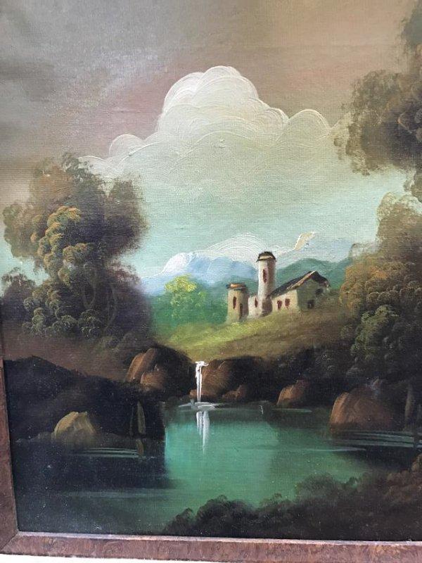 Oil on Canvas of Landscape Scene Signed - 3