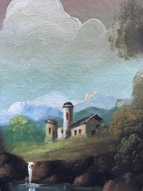 Oil on Canvas of Landscape Scene Signed - 4