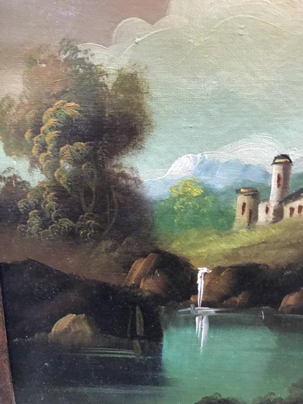 Oil on Canvas of Landscape Scene Signed - 8
