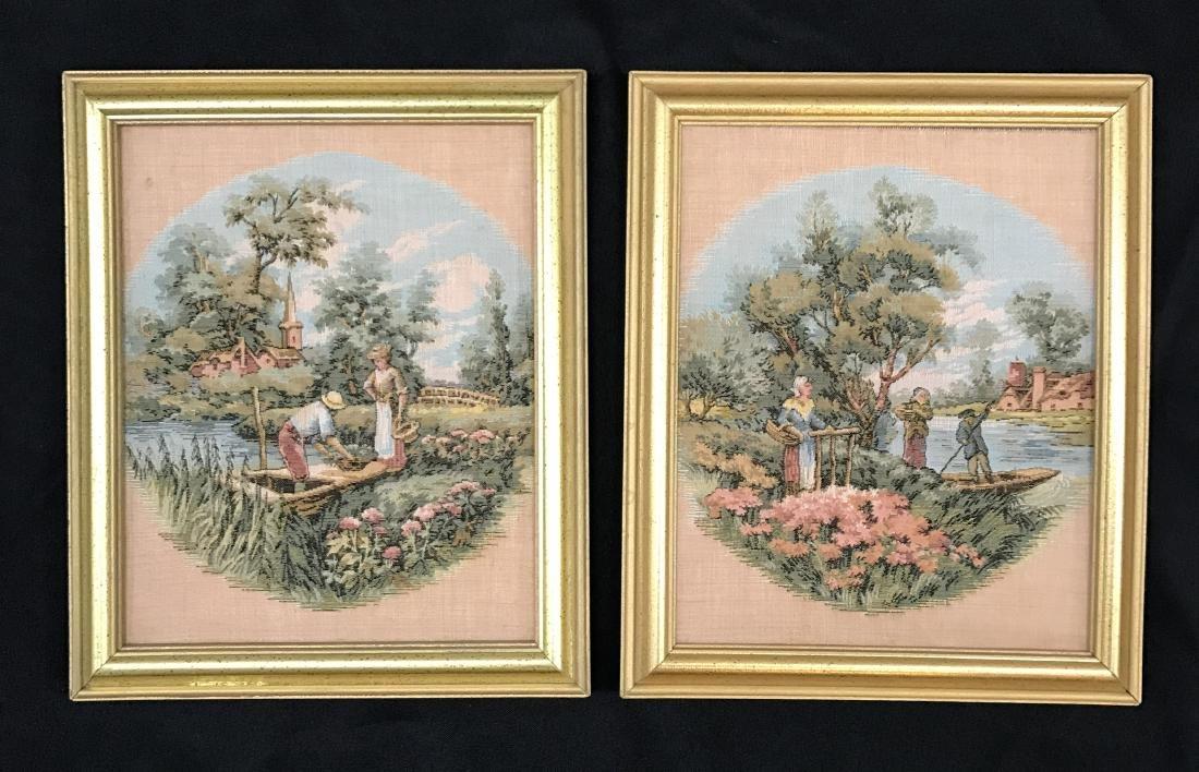 Pair of Framed Turkish  Tapestry Gobelins, 19th C