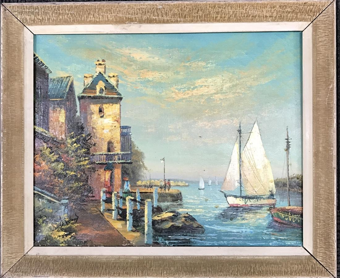 Oil on Canvas Painting Sail Boat in Seaport Signed