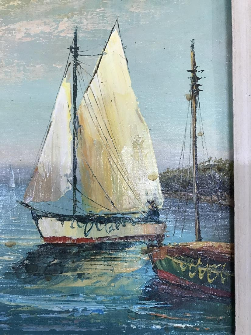 Oil on Canvas Painting Sail Boat in Seaport Signed - 6