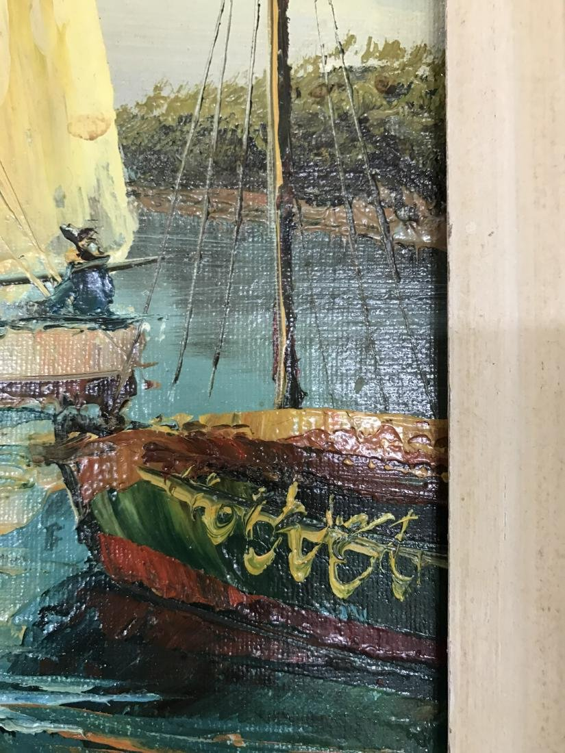 Oil on Canvas Painting Sail Boat in Seaport Signed - 7