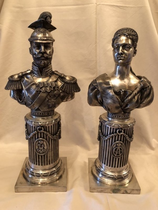 Two Carved Russian Silver Figure