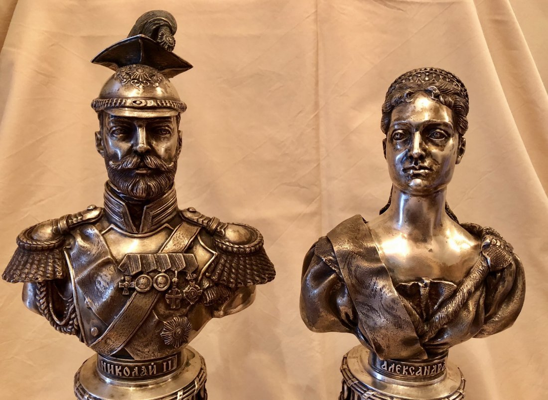 Two Carved Russian Silver Figure - 2