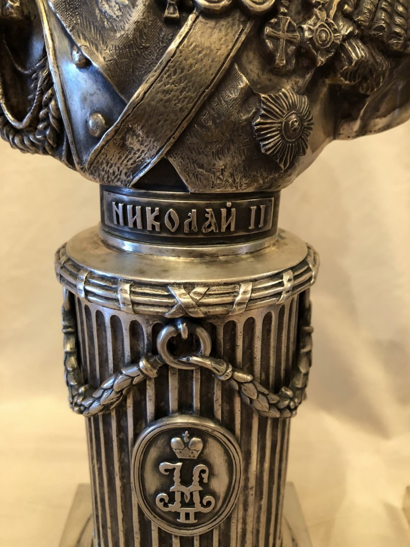 Two Carved Russian Silver Figure - 3