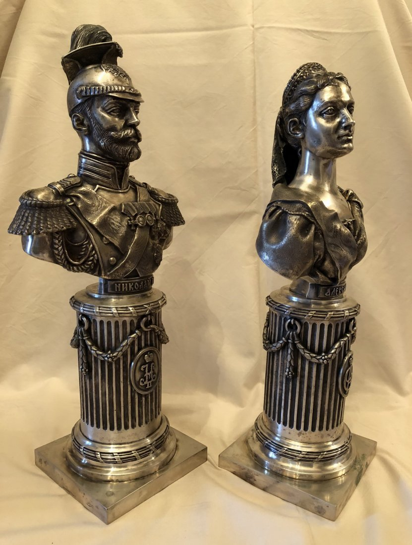 Two Carved Russian Silver Figure - 4