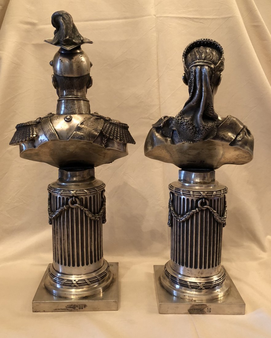 Two Carved Russian Silver Figure - 5