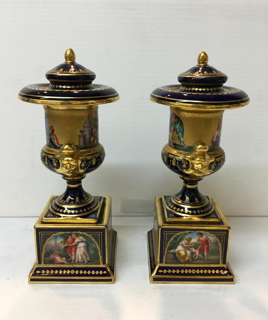 Royal Vienna Porcelain Urn 20th C Hand Painted Scenes - 5