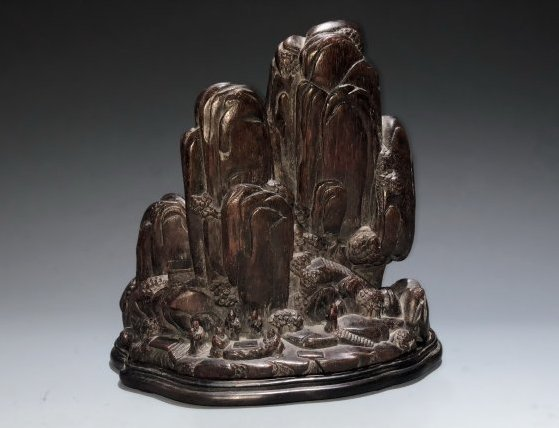 Carved Agarwood Mountain Boulder, Qing Dynasty