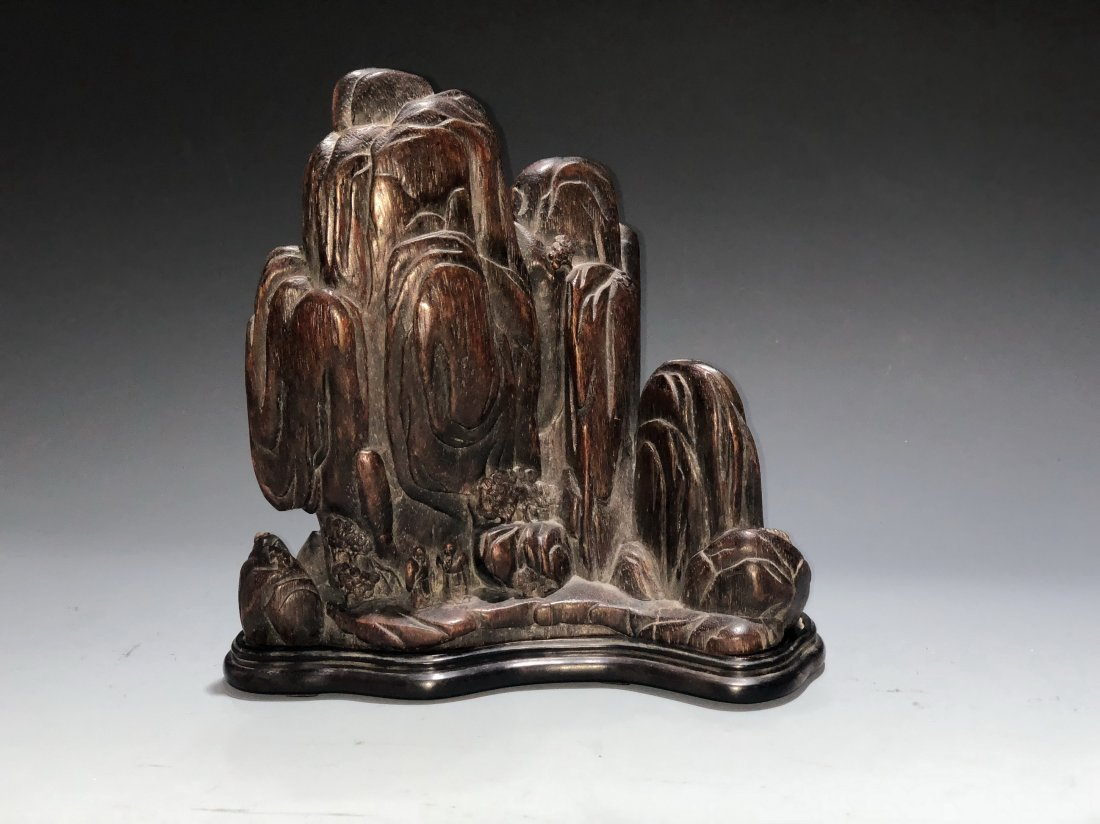 Carved Agarwood Mountain Boulder, Qing Dynasty - 3