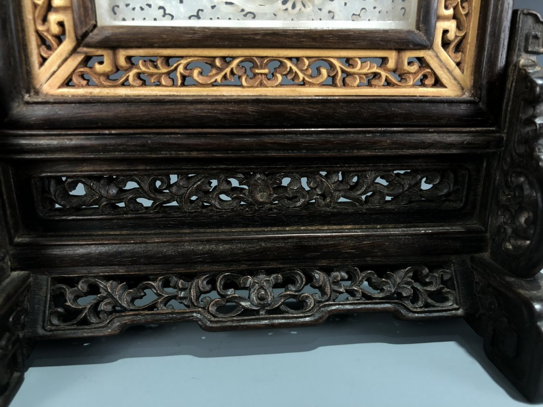 Rosewood and Boxwood Table Screen with White Jade Inlay - 3