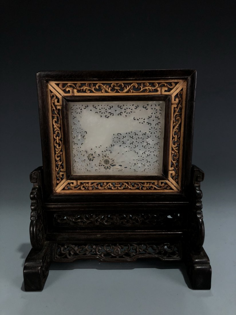 Rosewood and Boxwood Table Screen with White Jade Inlay - 4