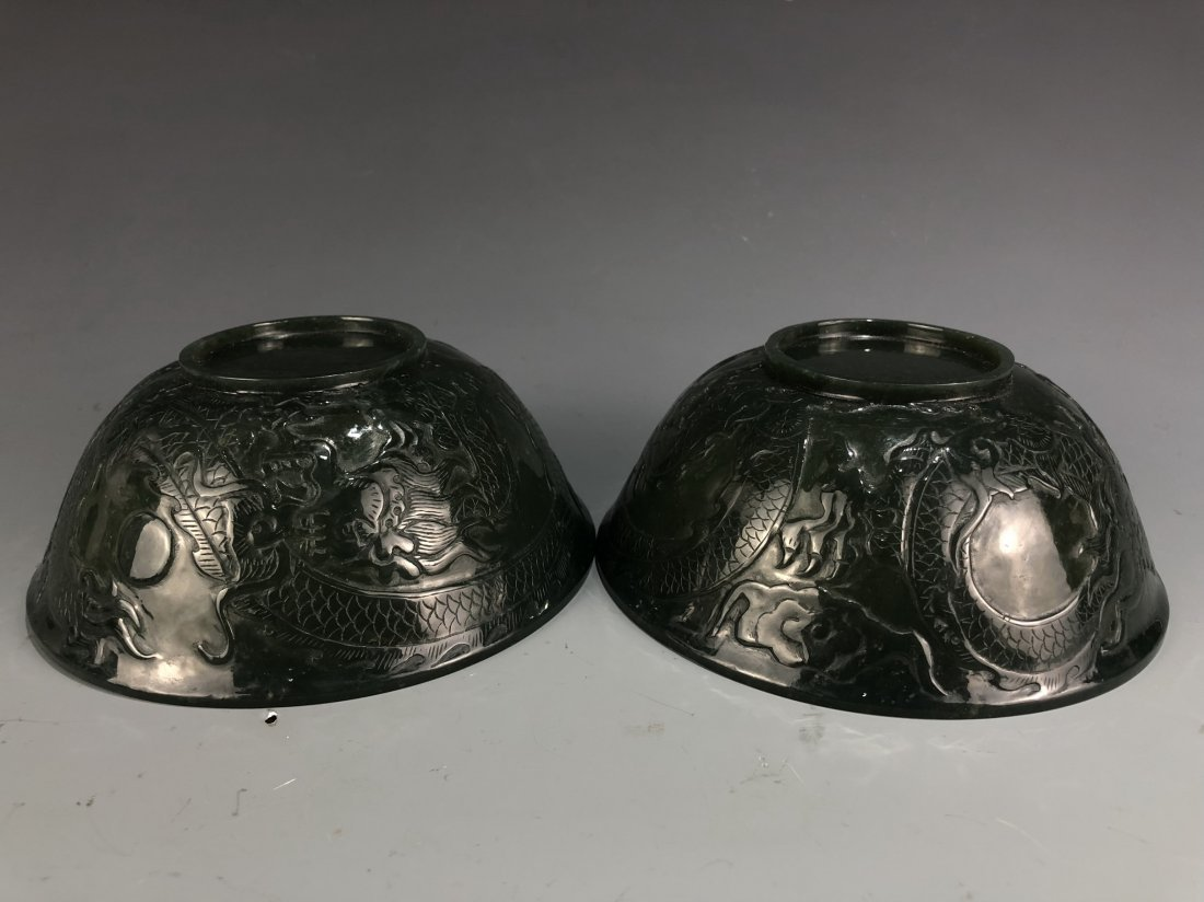 A Pair Of Chinese green jade bowls