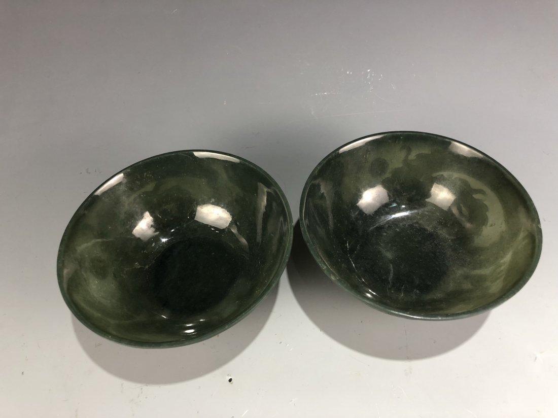 A Pair Of Chinese green jade bowls - 4