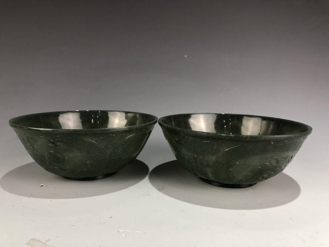 A Pair Of Chinese green jade bowls - 5