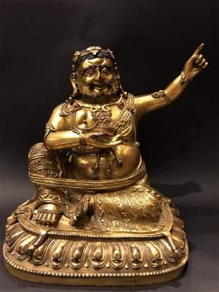 Gilt Bronze Figure Of Buddha With Stone Inlay