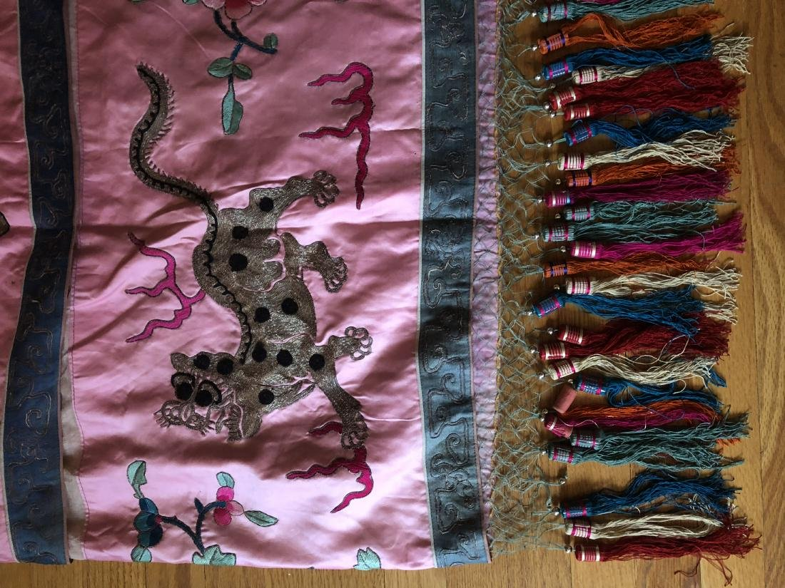 Antique Chinese Embroidered Silk Table Apron - 3