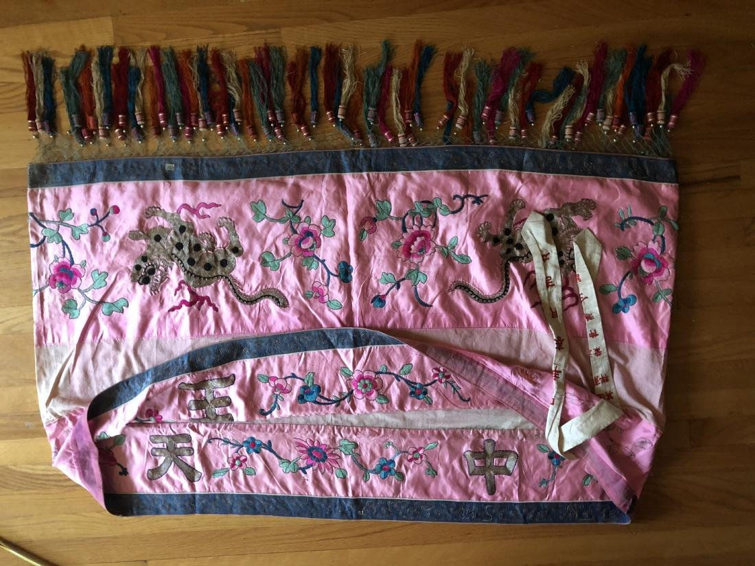 Antique Chinese Embroidered Silk Table Apron - 6