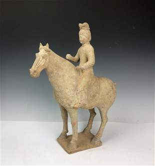Tang Dynasty Painted Red Pottery Equestrian