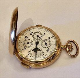 18K Moon Phase Pocket Watch