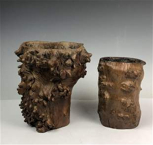 Root wood libation cup and Brush Pot