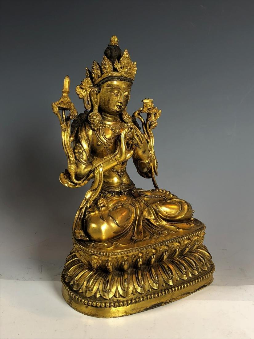 Gilt Bronze Figure of Tara - 8