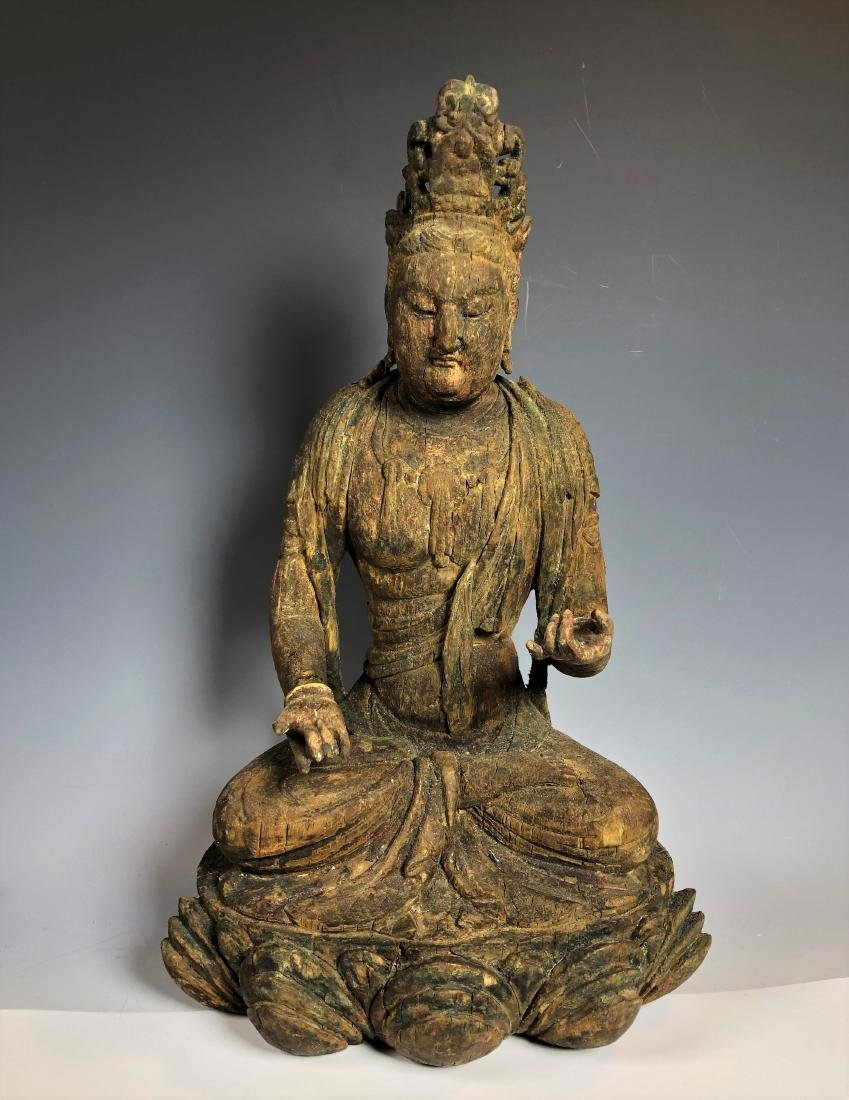 Carved Wood Figure of GuanYin