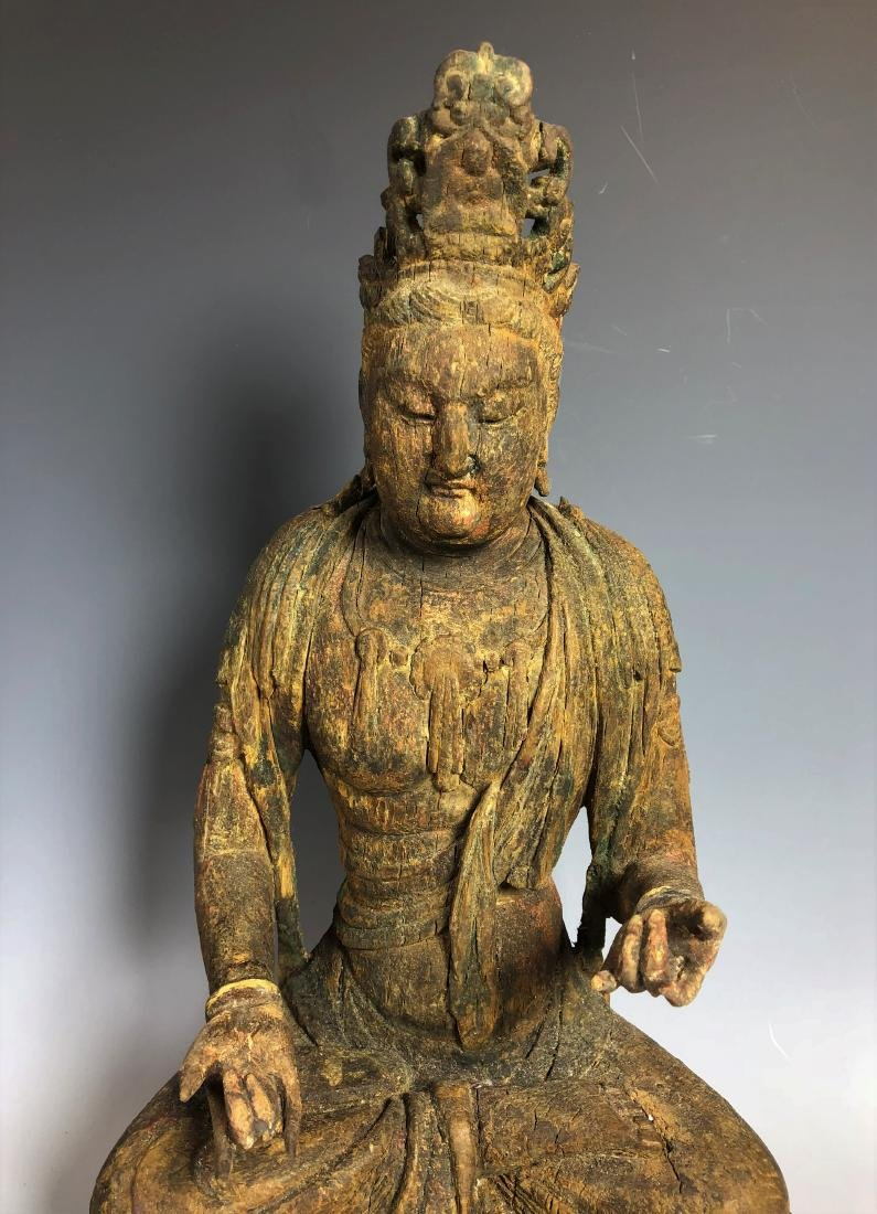 Carved Wood Figure of GuanYin - 2