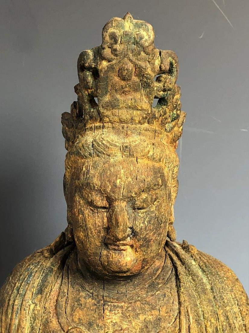 Carved Wood Figure of GuanYin - 3