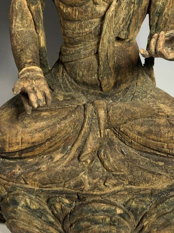 Carved Wood Figure of GuanYin - 4