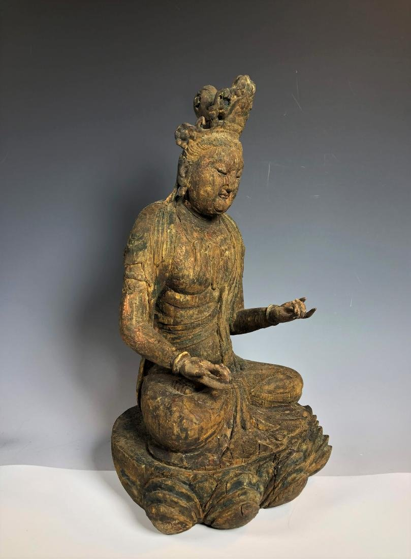 Carved Wood Figure of GuanYin - 5