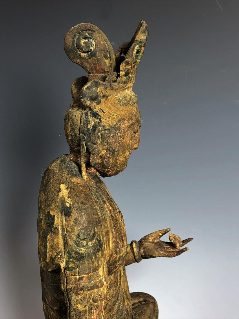 Carved Wood Figure of GuanYin - 6
