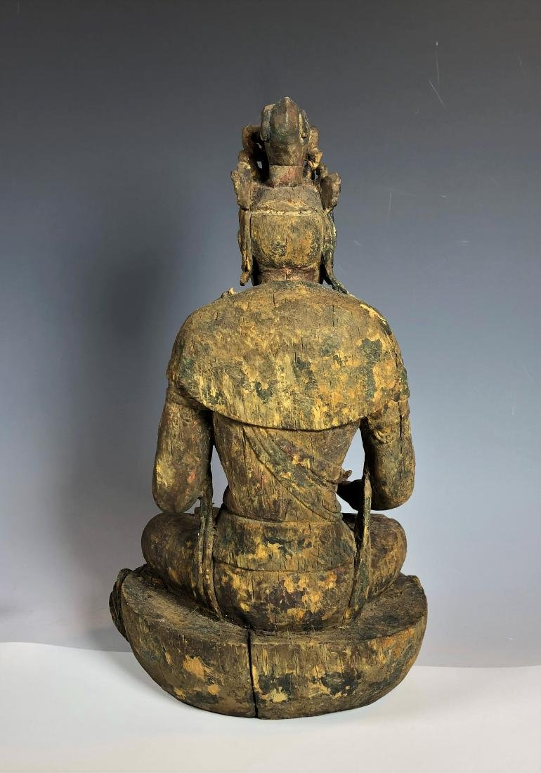 Carved Wood Figure of GuanYin - 7