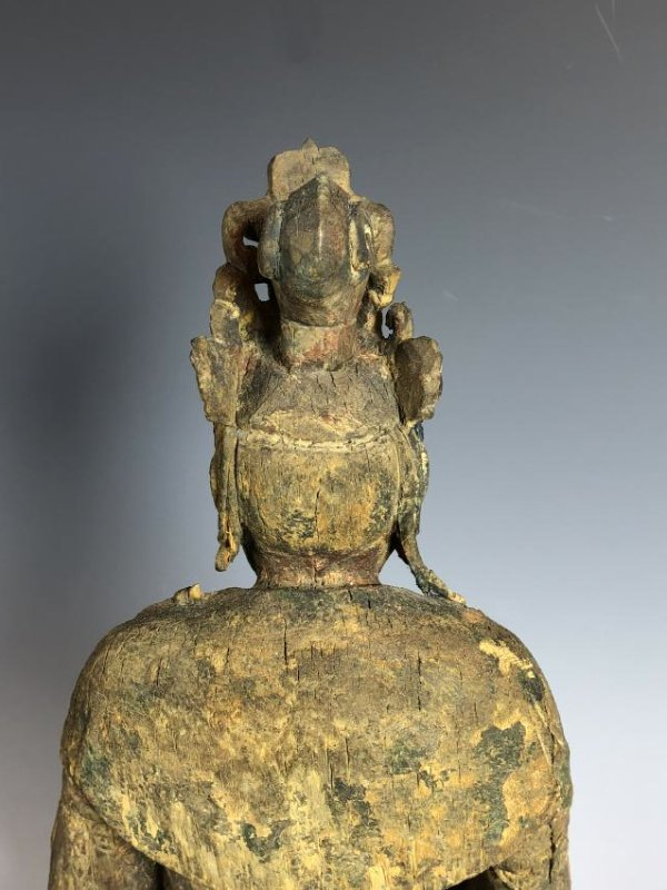 Carved Wood Figure of GuanYin - 8
