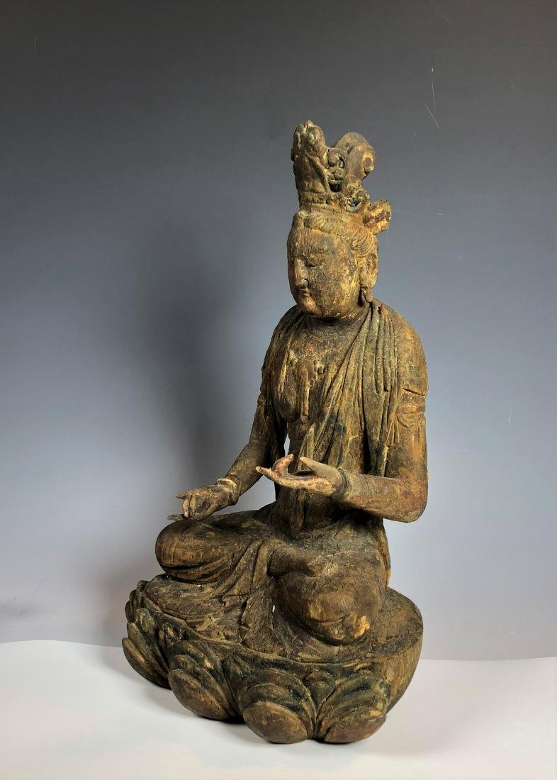 Carved Wood Figure of GuanYin - 9