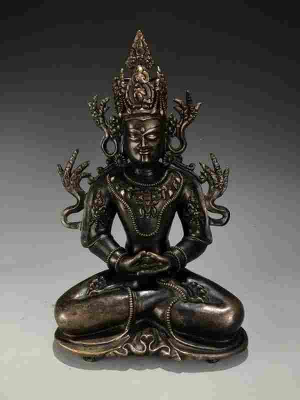 Silver & Gilt Bronze Figure of Manjugosha