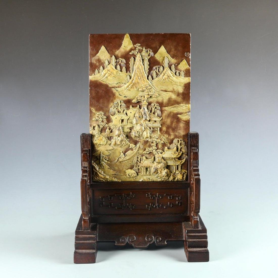 Carved Stone Table Screen with Hard Wood Stand