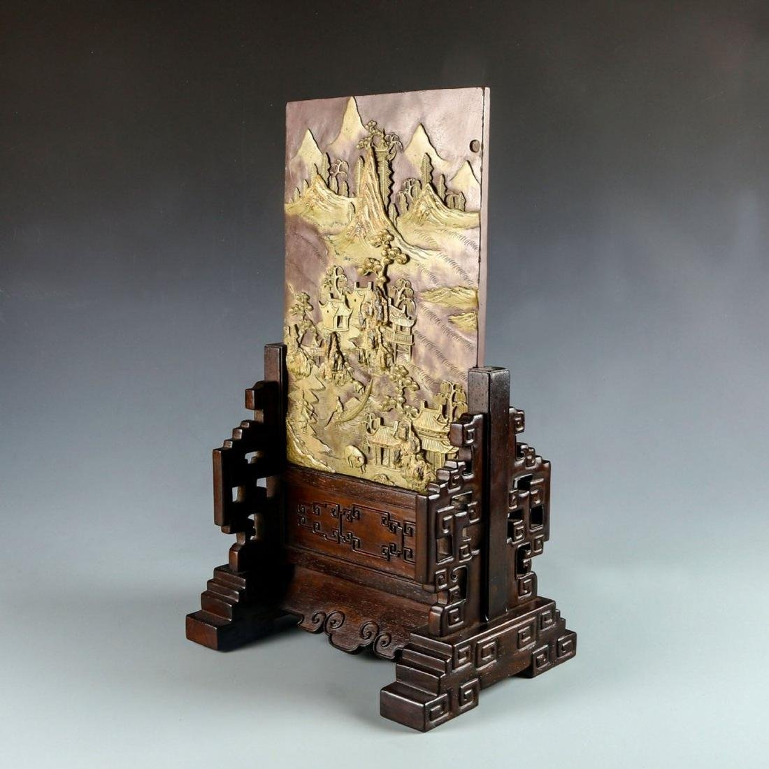 Carved Stone Table Screen with Hard Wood Stand - 2