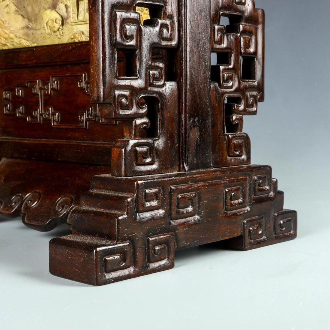 Carved Stone Table Screen with Hard Wood Stand - 8