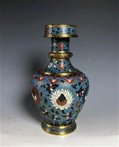 Cloisonne Enamel and Gilt Vase with Mark