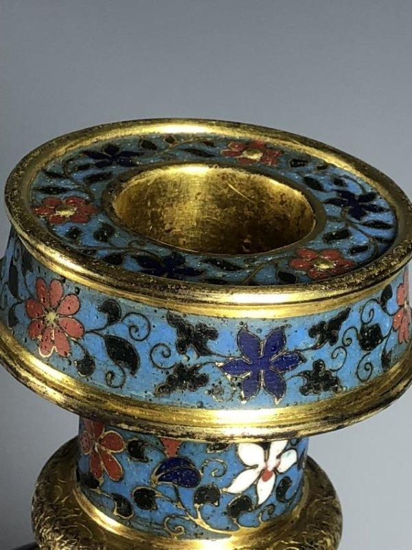 Cloisonne Enamel and Gilt Vase with Mark - 7