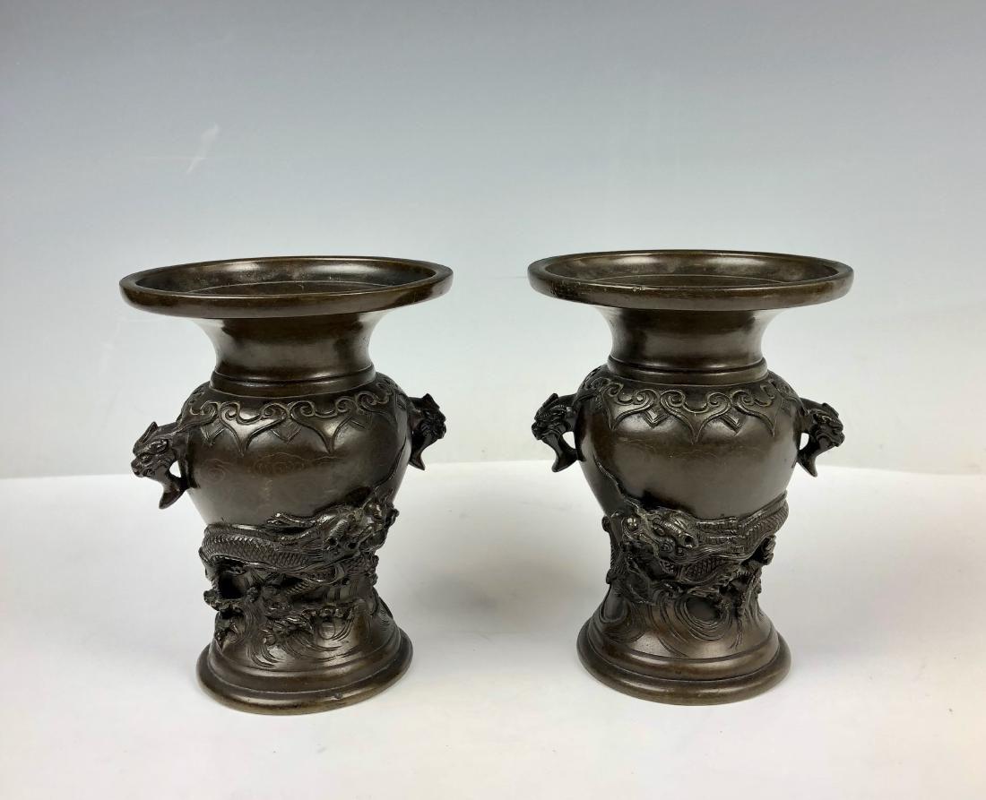 Pair of Bronze Dragon Vases